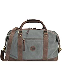 Leather Overnight Duffle Bag Canvas Travel Tote Duffel Weekend Bag Luggage