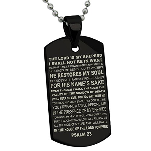 Dog Tag Bible (Black Stainless Steel Psalms 23 Bible Verse Dog)