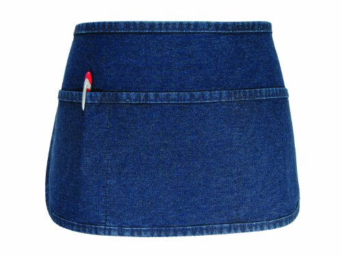 Fame Adult's 3 Pocket Round Bottom Waist Apron-Denim-O/S (Blue 3 Pocket Waist Apron)