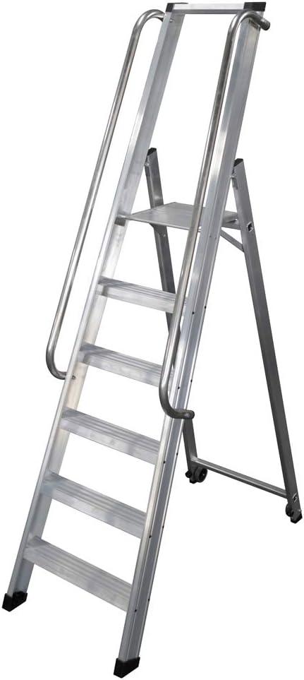 KTL Escalera Industrial de Aluminio Tijera un Acceso 6 peldaños Serie XL-s: Amazon.es: Hogar