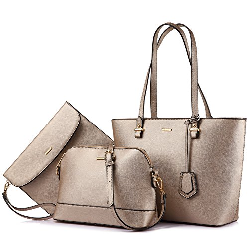Handbags for Women Tote Bag Shoulder Bag Top Handle Satchel Purse Set 3PCS Pearlescent-khaki -