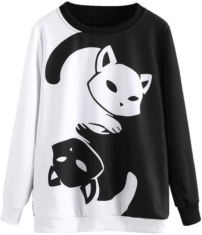 BaZhaHei de Blusa, Camisetas Mujer Sudadera con Capucha y Manga Larga para Mujer con Estampado de Gatos Blusa Camisetas Mujer Tops de Manga Larga de Mujer Gato Camisas Mujer Sweatshirt Tops Blouse: