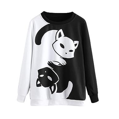 BaZhaHei de Blusa, Camisetas Mujer Sudadera con Capucha y Manga Larga para Mujer con Estampado de Gatos Blusa Camisetas Mujer Tops de Manga Larga de Mujer ...