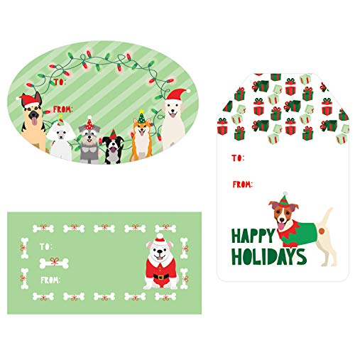 Christmas Gift Tags Assortment, 76 Stickers (Dog Theme)