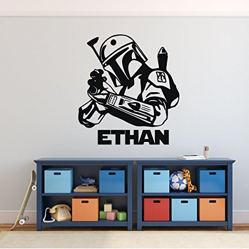 (Jango Fett Wall Decor - Star Wars Wall Decor - Personalized Vinyl Decal For Boy's Bedroom, Gameroom or Playroom)