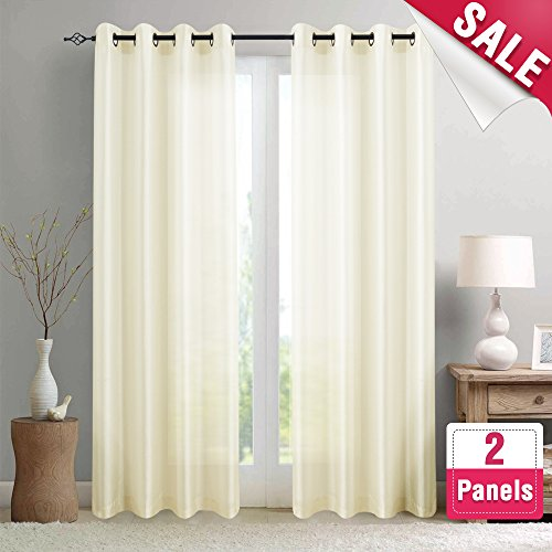 Silk Curtain (Faux Silk Curtains for Bedroom 84 inches Long Grommet Top Dupioni Light Reducing Window Curtain Panels for Living Room Satin Drapes Privacy Window Treatments, Ivory, 2 Panels)