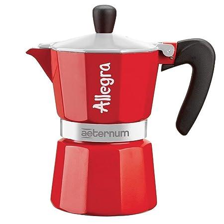 Aeternum 0006013 Allegra in Sleeve cafetera Italiana Aluminio, Aluminio, Rojo, 6 tasses