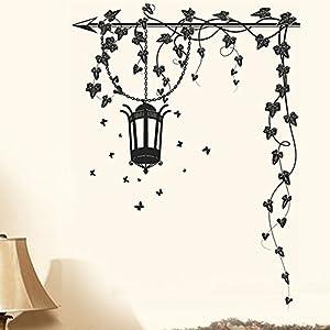 Decals Design 'Hanging Lamp and Vines' Wall Sticker (PVC Vinyl, 70 cm x 50 cm, Black)