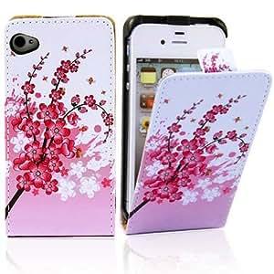 Electro-Weideworld Nuevo PU Color Funda de Cuero Piel Carcasa para iPhone 4 / 4S / 4G 16G 32G 64G Flor de Durazno