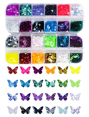 Rainbow Butterfly Shaped Glitter - Multipack - Festival Rave Beauty Makeup Face Body Nail