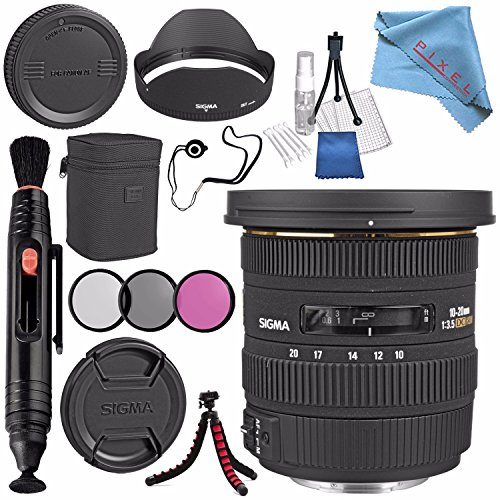 Sigma 10-20mm f/3.5 EX DC HSM Lens for Canon #202101 + 82mm 3 Piece Filter Kit + Lens Pen Cleaner + Fibercloth + Lens Capkeeper + Deluxe Cleaning Kit + Flexible Tripod Bundle