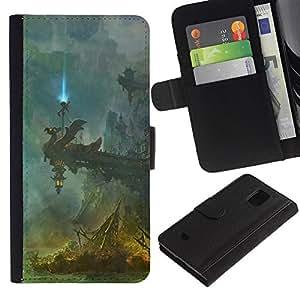 EJOY---Tirón de la caja Cartera de cuero con ranuras para tarjetas / Samsung Galaxy S5 Mini, SM-G800 / --Fantasía Templo