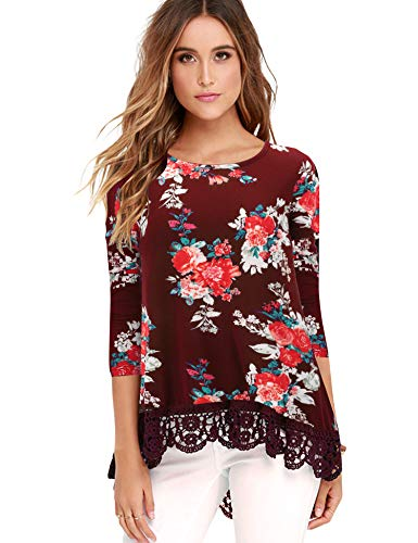 - FISOUL Tops Long Sleeve Lace Trim O-Neck A-Line Floral Printed Tunic Tops L WR