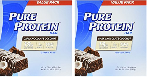 Pure Protein Dark Chocolate Coconut, 1.76oz, 2 Pack (12 Count) by Pure Protein