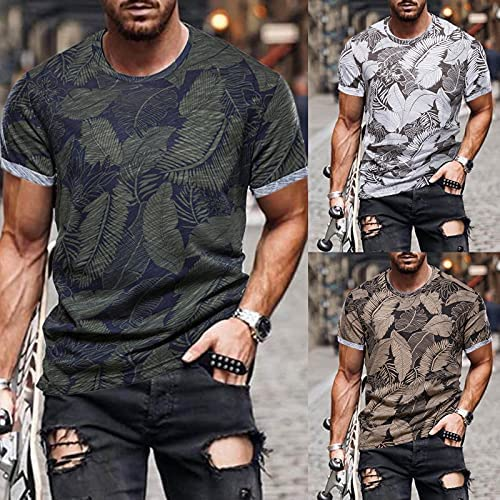 MEN'S SHORT SLEEVE LEAF PRINTING RETRO SHIRT SPRING AND SUMMER TOP BLOUSE