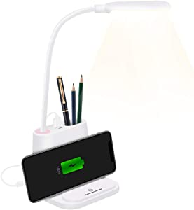 Giiwi LED Desk Lamp with USB Charging Port, Small Desk Light Flexible Hose with Pen Holder for Home Office Bedroom Dorm Reading Light