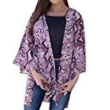 NUWFOR Fashion Womens Serpentine Printing Cardigan Smock Easy Blouse Tops(Purple,XL US Bust:43.3'')