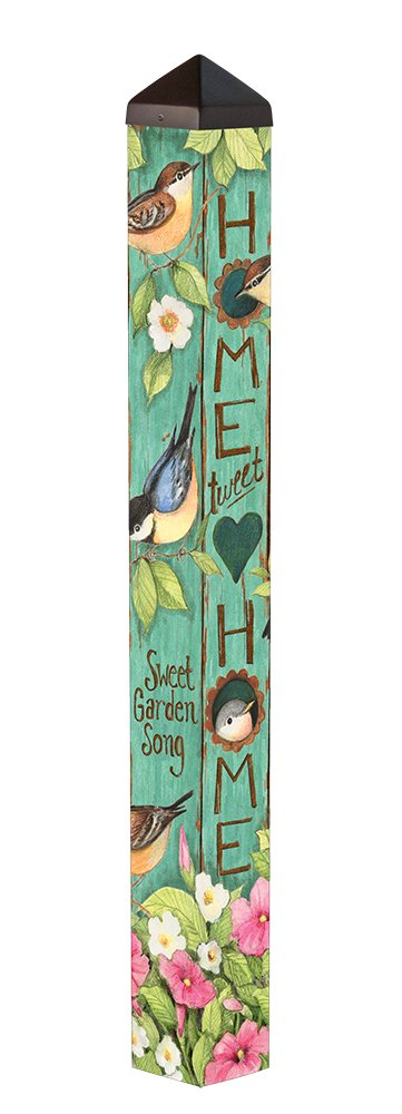 Studio M Garden Art Pole Fade-Resistent Outdoor Décor , 4-Feet Tall, Tweet Home by Studio M