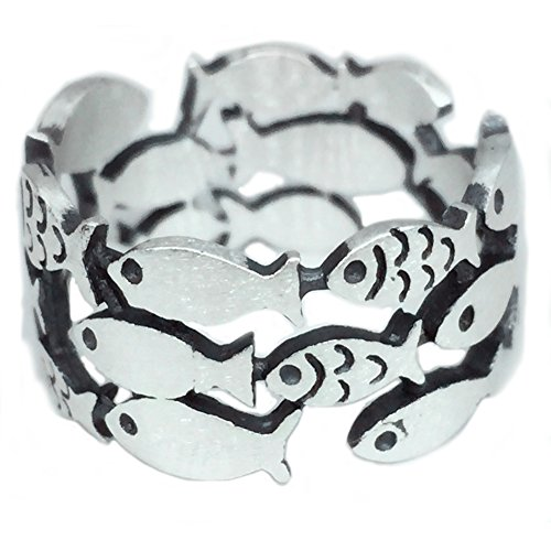 Thai Rings - Helen de Lete Simple School Fish Geometric Pattern 925 Sterling Silver Ring-thai silver