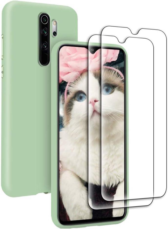 Funda Líquida para Xiaomi Redmi Note 8 Pro + 2* Cristal Templado Protector de Pantalla, Carcasa Líquido Ultra Delgado Suave TPU Silicona Anti-Rasguño y Resistente Protectora Caso - Verde