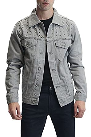 Victorious Denim Jacket with Spikes DK92 at Amazon Men's Clothing ...