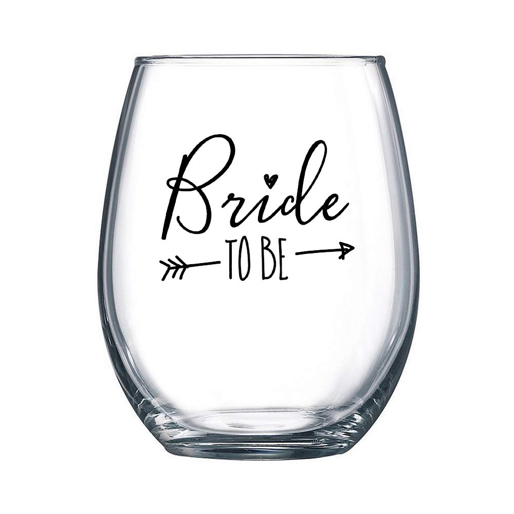 Bride To Be - 17 oz Stemless Wine Glass for Newly Engaged | Just Engaged | Engagement Party (Black Imprint)