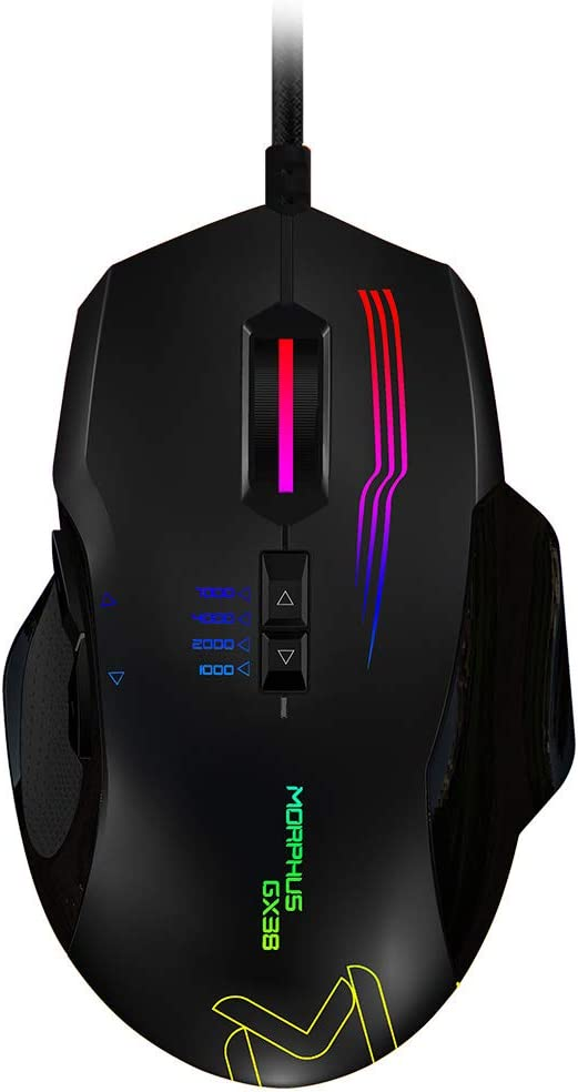Gaming Mouse Wired, AIKUN MORPHUS GX38 with 16.8 Million Chroma RGB Color Backlit,4 Adjustable DPI Levels,7000 DPI, 7 Programmable Buttons for Games and Office Laptop, PC, Mac
