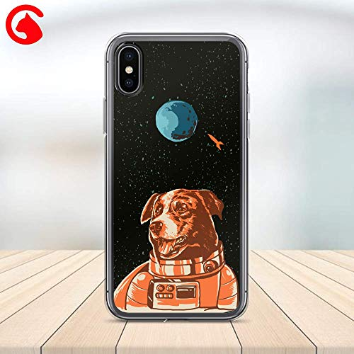 CatixCases Cute Dog Astronaut Space Moon Rocket Pattern Case Cell Phone Plastic Сlear Case for Apple iPhone X/XS/XR/XS Max / 7/8 / plus iPhone 6 / 6S plus Protector Protective Cover Art Design ()