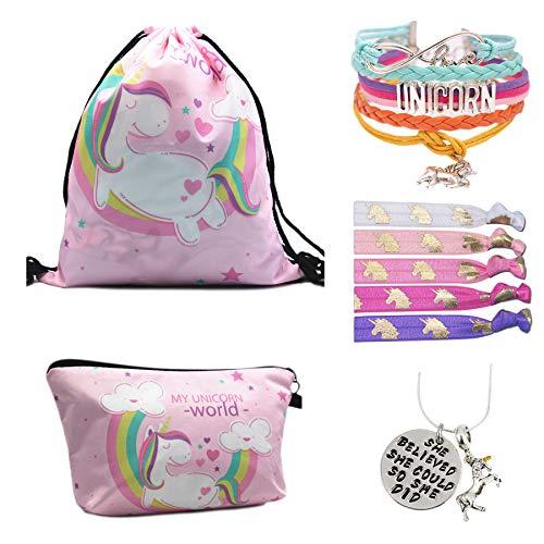 Unicorn Gifts for Girls - Unicorn Drawstring Backpack/Makeup Bag/Bracelet/Inspirational Necklace/Hair Ties by CMK TRENDY KIDS