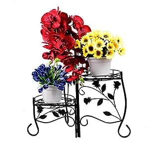 Homewell soporte estable de pie para plantas 3 niveles plegable pedestal de metal - Pedestal para plantas ...