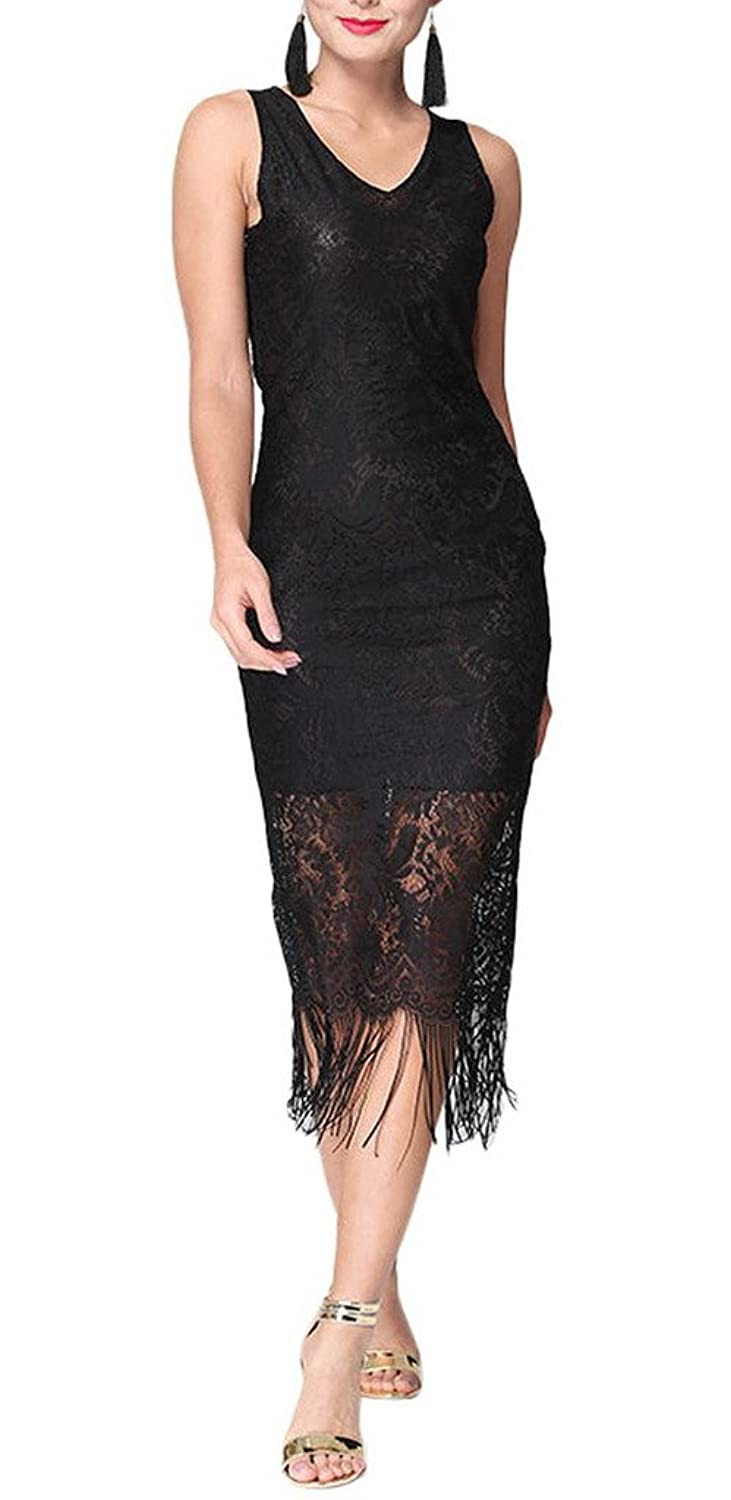 Bigood Occident Women Fringe Lap Hollow Lace V Neck Party Maxi Skirt