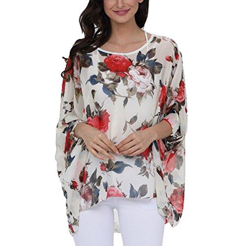 JLTPH Ladies Batwing Chiffon Shirt Bohemian Semi Sheer Loose Floral Blouse Tunic Tops