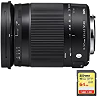 Sigma 18-300mm F3.5-6.3 DC Macro OS HSM Lens for Canon includes Bonus Sandisk 64GB Memory Card