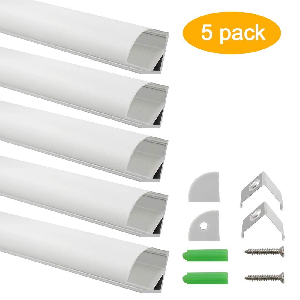 inShareplus LED Aluminum Channel System V Shape With Milk White Cover, End Caps and Mounting Clips, Aluminum Profile for LED Strip Light Installations, V02 Model, 5 Pack, 3.3ft/1 Meter, Silver