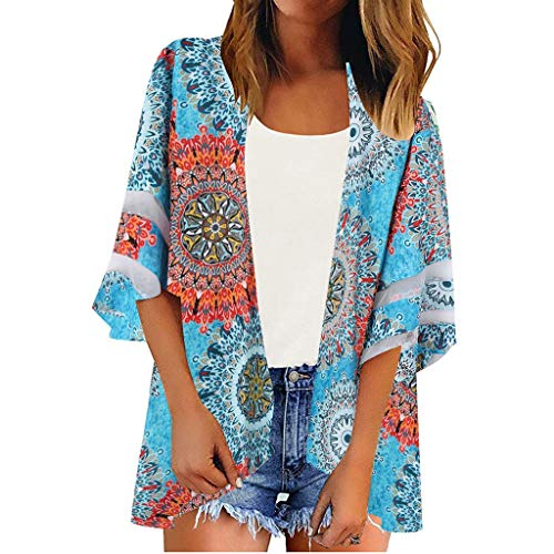Huajuyan Women Mesh Panel 3/4 Bell Sleeve Floral Print Chiffon Casual Loose Kimono Cardigan (2XL, Multicolor)