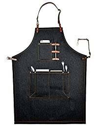 Perfashion Cool Men's Apron Chef Works with Adjustable Neck Straps & Waist Multi Pockets