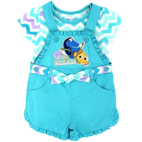 (Finding Dory Toddler Girls Tee and Shortall Set (3T, Fish Friends)