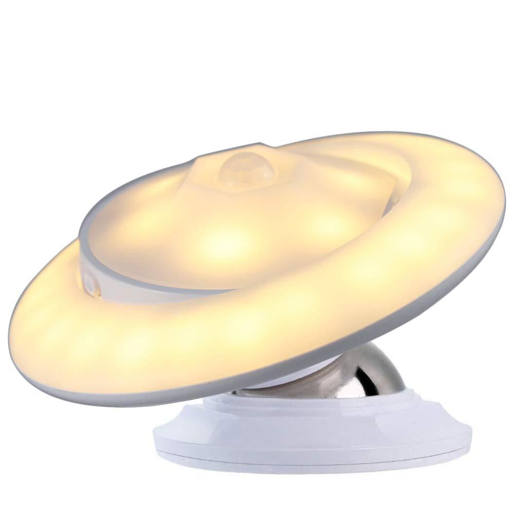 Bovon LED Nachtlicht mit Bewegungsmelder 360°Drehbare LED Sensorleuchte, Abnehmbar & Magnetisch & Tragbar USB Aufladbar Baby Nachtleuchte für Kinder Flur Treppen Küche Schlafzimmer und Bad (Warmweiß) Night Light-Warm