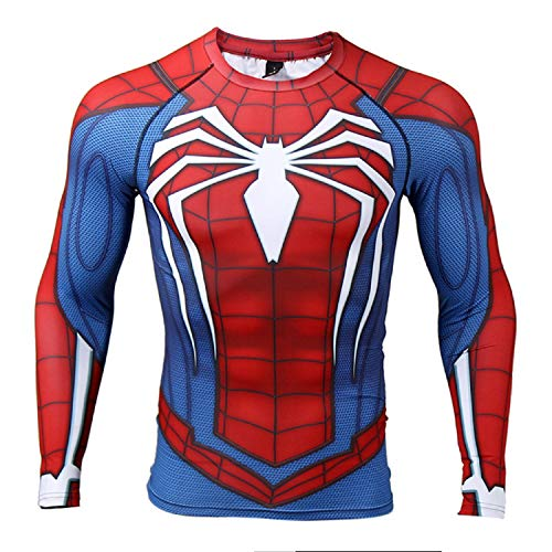 COOLMAX Raglan Sleeve Spiderman 3D Printed T Shirts Men Compression Shirts (Large, Blue)