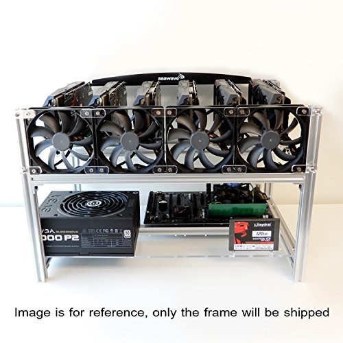 aaawave  gpu stackable aluminum mining frame rig case  fan mounts bitcoin ethereum zcash