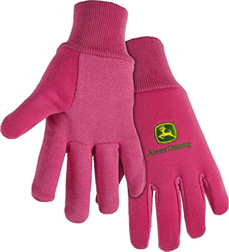 West Chester John Deere JD00003 Knit Polyester/Cotton All Purpose Work Gloves with Dotted Palms: Pink, Youth, 1 Pair