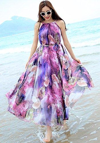 d81318076c MedeShe Women's Chiffon Floral Holiday Beach Bridesmaid Maxi Dress Sundress  ( Medium, Purple Floral)
