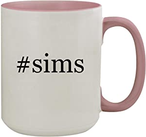 #sims - 15oz Hashtag Colored Inner & Handle Ceramic Coffee Mug, Pink