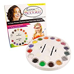 Custom Body Art Face Paint Rainbow Wheel 16 Color Primary Set with 16 Large Face Paint Jars & 16 Piece Applicator Set
