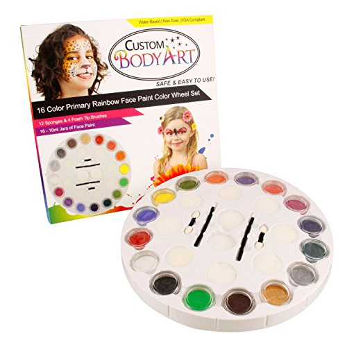 Paint Rainbow Wheel 16 Color Primary Set with 16 Large Face Paint Jars & 16 Piece Applicator Set ()