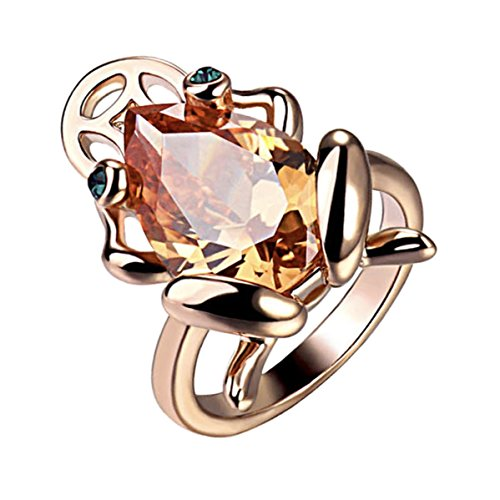 Gold Plated Animal Frog Ring with Golden Brown Teardrop Shaped Swarovski element Crystal Fashion Jewelry for Women (Rose Gold Plated, 8)
