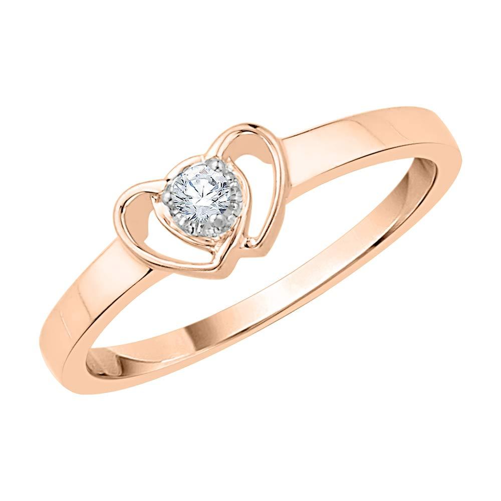 1//20 cttw, G-H, I2-I3 KATARINA Diamond Heart Promise Ring in 14k Gold
