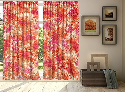Indian Shibori Curtains Hand Tie Dye Door Drapes  Valances Room Divider Curtain, Voile Curtains, Loops Curtain Window Treatment Panel 2 Pcs Set 84 x …