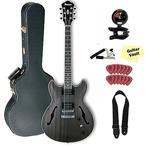 Ibanez AS53 Semi-Hollow guitarra eléctrica, transparente negro soporte de acabado, con carcasa rígida: Amazon.es: Instrumentos musicales