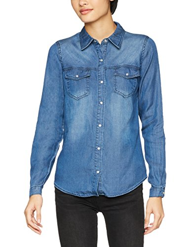 noos Denim dark Donna Clean Wash Camicia Vibista Vila Shirt Blue Blu CqxA56